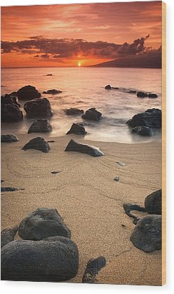 Hawaiian Sunset Wood Print by Nolan Nitschke