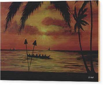 Hawaiian Sunset Paddlers #283 Wood Print by Donald k Hall