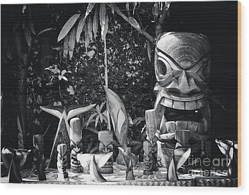 Wood Print featuring the photograph Hawaiian Tiki Carvings by Sharon Mau