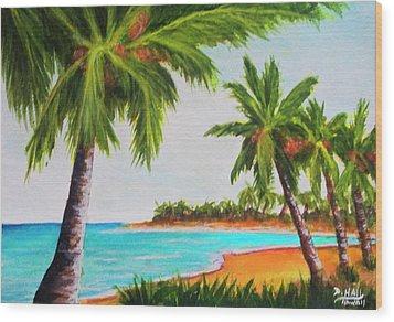 Hawaiian Tropical Beach #429 Wood Print by Donald k Hall