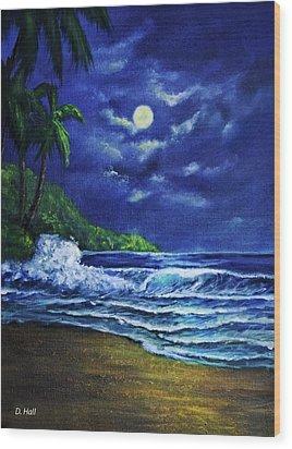 Hawaiian Tropical Ocean Moonscape Seascape #377 Wood Print by Donald k Hall