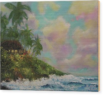 Hawaiian  Twilight Beach Wave Art Print Painting #423 Wood Print by Donald k Hall