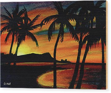 Hawaiian Waikiki Sunrise Over Diamond Head  #266 Wood Print by Donald k Hall