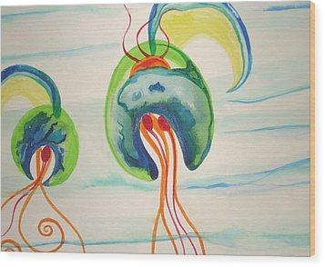 Hawaiian Warrior Jellyfish Wood Print by Erika Swartzkopf