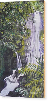 Wood Print featuring the painting Hawaiian Waterfall by Terri Thompson