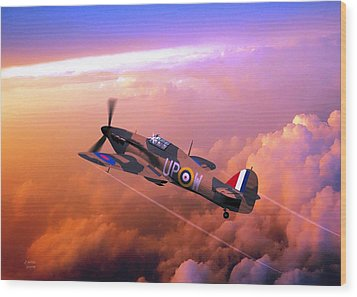 Wood Print featuring the digital art Hawker Hurricane British Fighter by John Wills