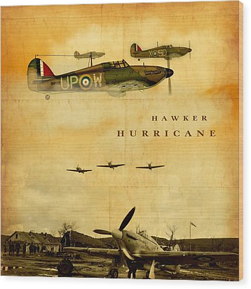 Wood Print featuring the digital art Hawker Hurricane Raf by John Wills
