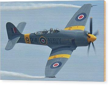 Hawker Sea Fury T20 N924g Chino California April 30 2016 Wood Print by Brian Lockett