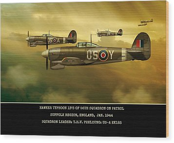 Wood Print featuring the digital art Hawker Typhoon Sqn 56 by John Wills