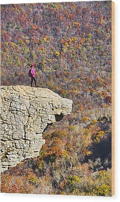 Hawksbill Crag In Autumn Wood Print by Dennis Cox WorldViews
