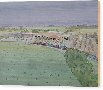 Hay And Trains Field Wood Print by Bethany Lee