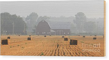 Hay Bales And Red Barn At Sunrise Wood Print by Jack Schultz