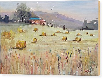 Hay Bales Wood Print by Ryan Radke