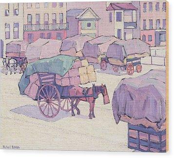Hay Carts - Cumberland Market Wood Print by Robert Polhill Bevan