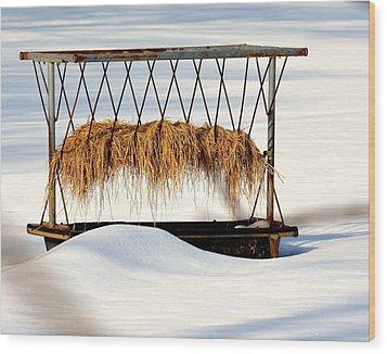 Hay Feeder In Winter Wood Print