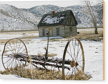 Hay Rake At Butch Cassidy Wood Print by Nelson Strong