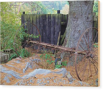 Hay Rake Composition Wood Print by Terry  Wiley