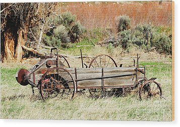 Hay Wagon At Butch Cassidy's Home Wood Print by Dennis Hammer