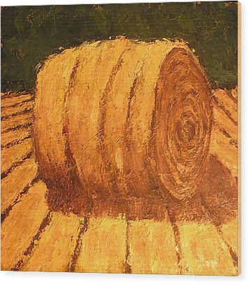 Haybale Wood Print by Jaylynn Johnson