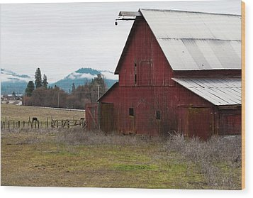 Hayfork Red Barn Wood Print