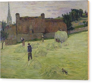Haymaking In Brittany Wood Print by Paul Gauguin