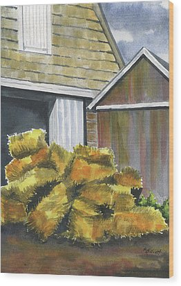 Haystack Wood Print by Marsha Elliott