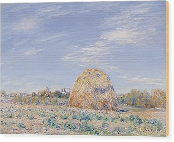 Haystack On The Banks Of The Loing Wood Print by Alfred Sisley