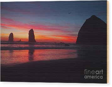 Haystack Rock At Sunset 2 Wood Print