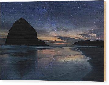 Haystack Rock Under Starry Night Sky Wood Print