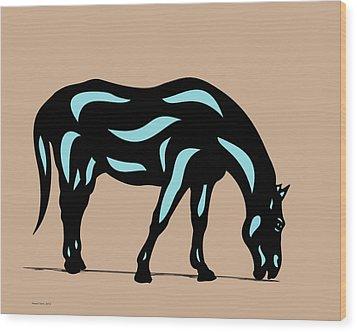 Hazel - Pop Art Horse - Black, Island Paradise Blue, Hazelnut Wood Print by Manuel Sueess