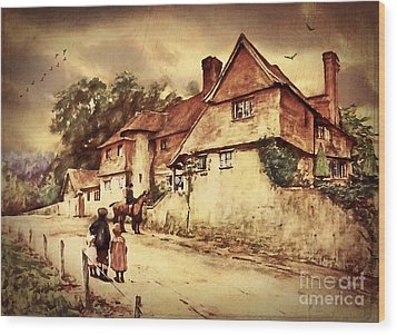 Wood Print featuring the digital art Hazelmere Cottage - English Lake District by Lianne Schneider