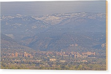 Hazy Low Cloud Morning Boulder Colorado University Scenic View  Wood Print by James BO  Insogna