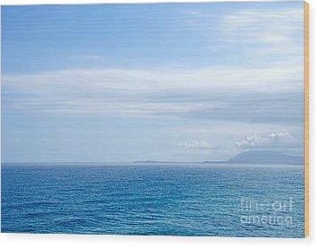 Hazy Ocean View Wood Print by Kaye Menner