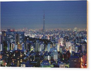 Hazy Skyline With Tokyo Sky Tree Wood Print by Hidehiko Sakashita