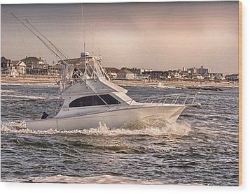 Hdr Fishing Boat Ocean Beach Beachtown Boadwalk Scenic Photography Photos Pictures Boating Sea Pics Wood Print by Pictures HDR