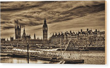 Hdr Sepia Westminster Wood Print by Andrea Barbieri