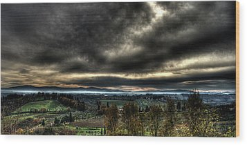 Hdr Tuscany Sunset Wood Print by Andrea Barbieri