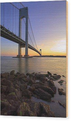 Hdr Verrazano Bridge Sunset Wood Print by Samuel Kessler