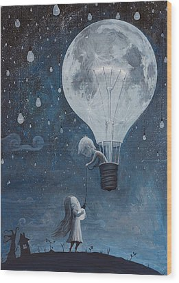He Gave Me The Brightest Star Wood Print by Adrian Borda