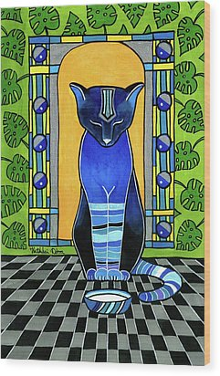 Wood Print featuring the painting He Is Back - Blue Cat Art by Dora Hathazi Mendes