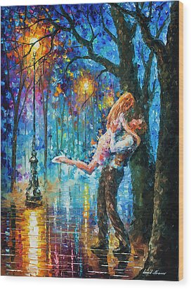 He Proposal  Wood Print by Leonid Afremov