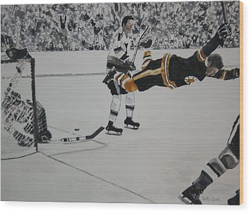 He Scores Wood Print by Betty-Anne McDonald