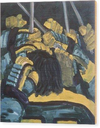 He Scores Wood Print by Ken Yackel
