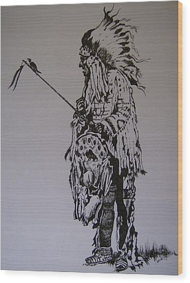 Wood Print featuring the drawing Head Dress by Leslie Manley