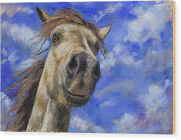Wood Print featuring the pastel Head In The Clouds by Billie Colson