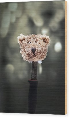 Head Of A Teddy Wood Print by Joana Kruse