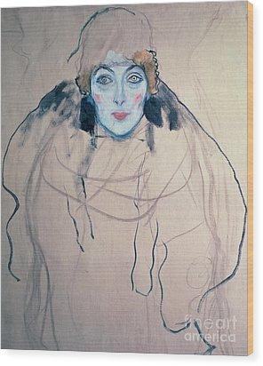 Head Of A Woman Wood Print by Gustav Klimt