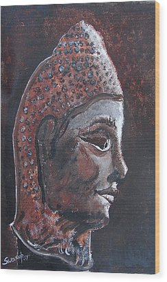 Wood Print featuring the painting Head Of Buddha by Anand Swaroop Manchiraju