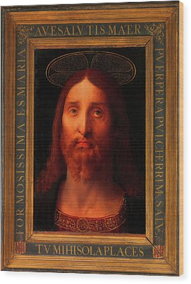 Wood Print featuring the painting Head Of Christ                                   by Fernando De La Almedina