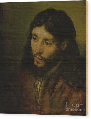 Head Of Christ Wood Print by Rembrandt